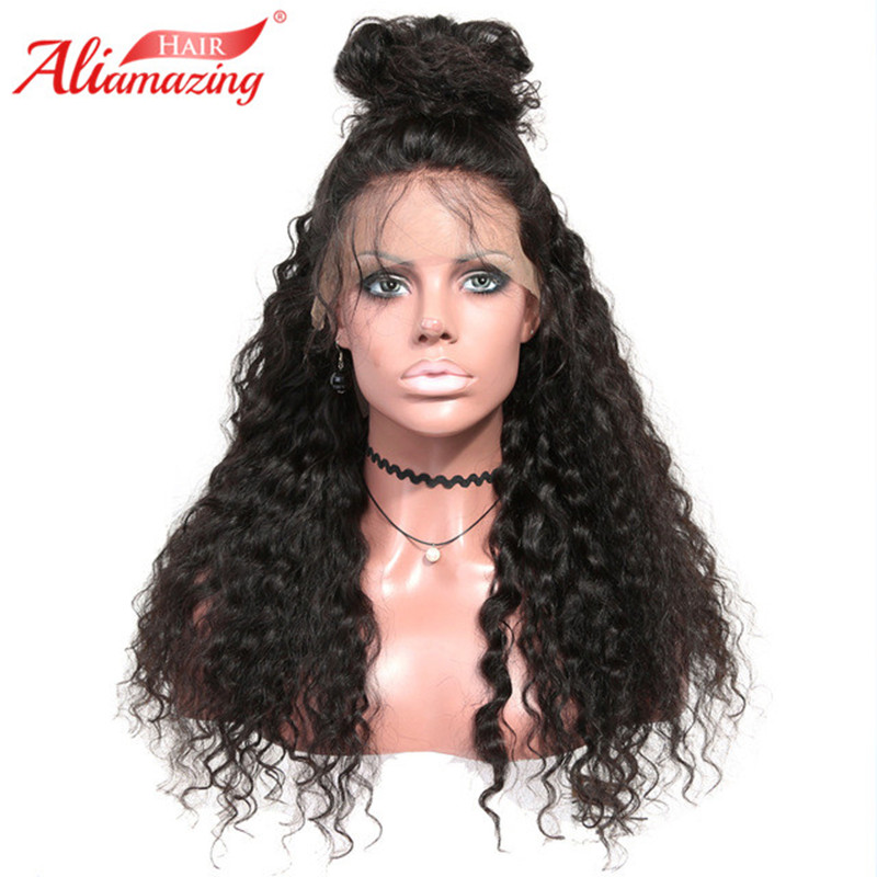Ali Amazing Hair 360 Lace Frontal Human Hair Wigs Curly Brazilian Remy Hair Wig 22.5*4*2 Pre Plucked Bleached Knots