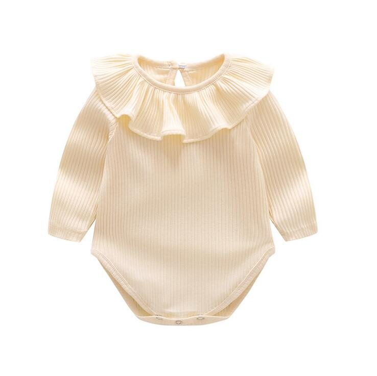 AURO MESA baby girl clothes Flouncing lace Newborn baby Bodysuit Long Sleeve Soft Cotton bebes baby Clothing