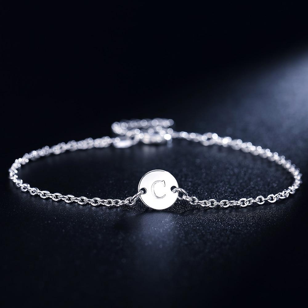 26 Fashion Letter women men chain bracelet Silver color Charm Bracelet wedding Personality Jewelry Pulseras Mujer JSHLH029 3