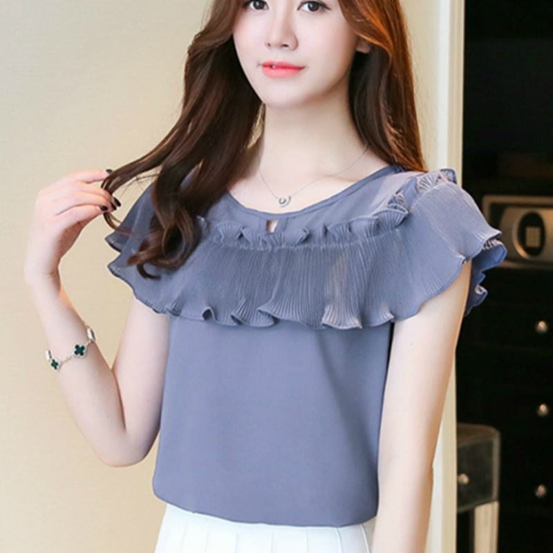 Womens Shor Sleeve Casual Chiffon Blouse Female Blouses O-Neck Work Wear  Solid Color Office 4f841bea7854
