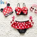 Traje de baño del bebé 80-100 cm 2 unidades bikini y trajes de baño de natación sombrero mini cartón infantil del bebé del traje de baño para niño de las muchachas gorras