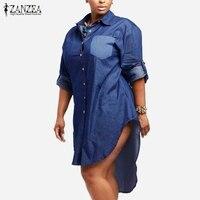 Oversized Dress 2016 Autumn Trendy Women Denim Vintage Lapel Long Sleeve Irregular Hem Long Jeans Blouse