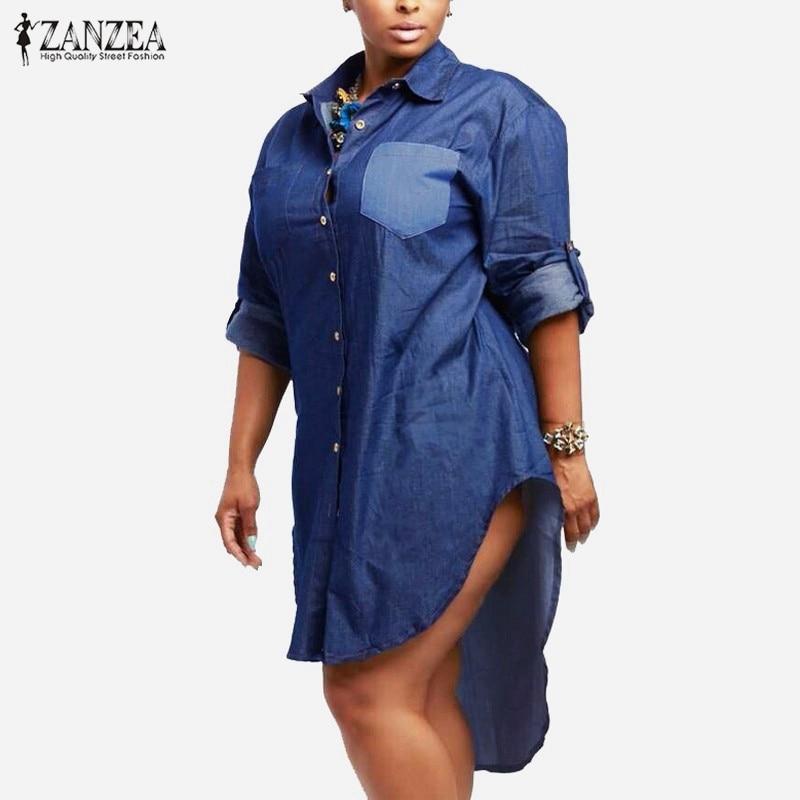 Übergroße Kleid 2018 Frühling Herbst ZANZEA Frauen Denim Vintage Revers Langarm Unregelmäßigen Saum Lange Jeans Bluse Shirt Plus Größe