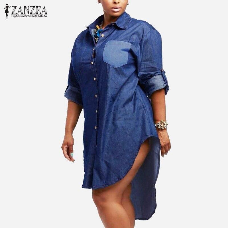 Gaun kebesaran, 2018 musim semi musim gugur ZANZEA wanita Denim kerah antik lengan panjang tidak teratur Hem Jeans panjang, Kemeja blus, Plus ukuran