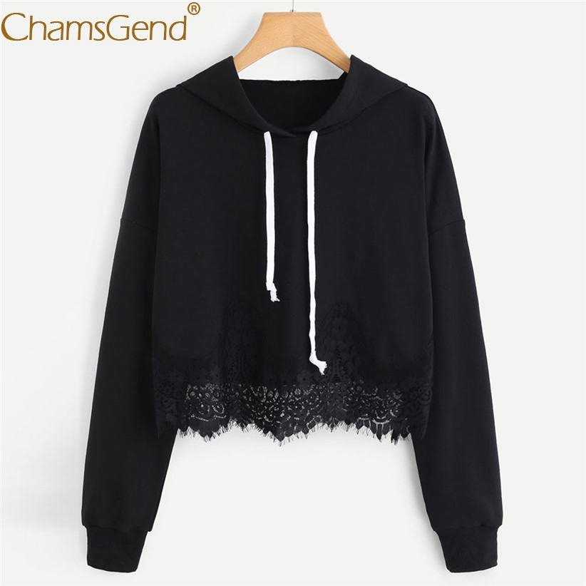 Drop Shipping Sweatshirts Lace Sweatshirts Women Long Sleeve Pullover Hoodie Sweatshirts Woman Autumn Winter Crop Top 80813