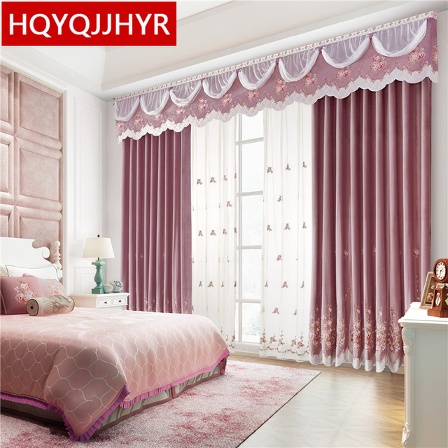Top Luxury High Quality Pink Velvet Curtains For Living Room Royal