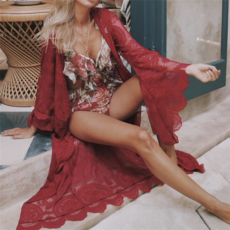 De luxe Paréo Plage Sarong Rose Transparent Broderie Kimono Top Boho Wrap Robe Sexy Maillots De Bain Cover Up Dentelle Tunique Femmes A54