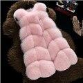 2016 Новая мода искусственного меха пальто теплый Черный белый розовый S-3XL большой размер искусственного меха жилет зимняя куртка женщин высокого качества пальто 1401
