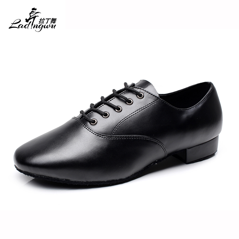 Ladingwu New Modern Dance Shoes Men's Genuine Leather Adult Indoor Latin Dance Shoes Men's Tango Ballroom Shoes Heel 2.5/4.5cm