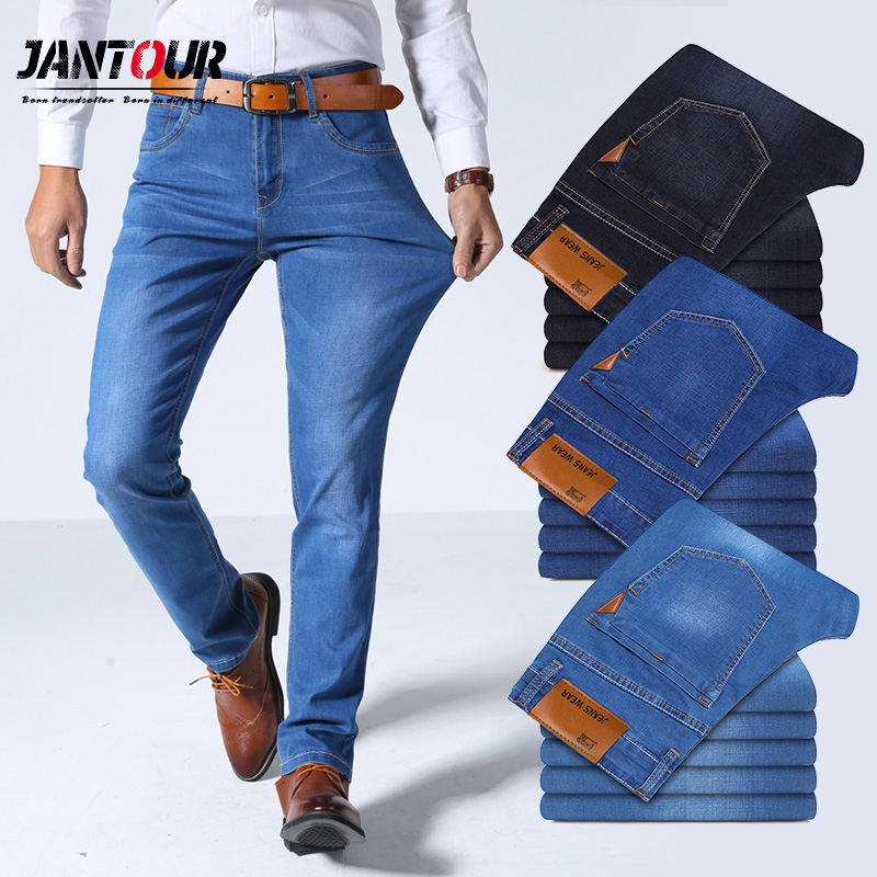Jantour Autumn Winter Mens Brand Jeans Men Casual Straight Stretch Skinny Jeans Male  Blue Black Hot Sell Male Trousers Size 40