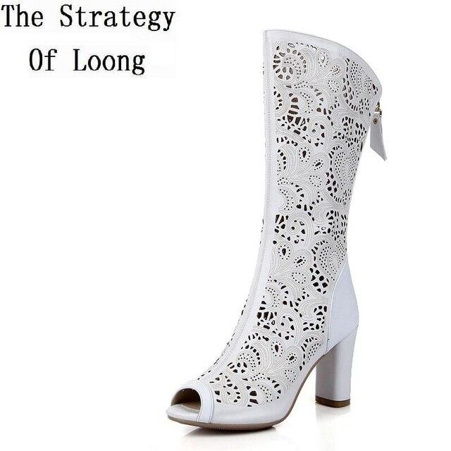 43e244c6e 2018 New Summer Women Genuine Leather Cut Out Mesh Open Toe Summer Boots  Buskin High Heel Sandals Boots Big Size 34-41