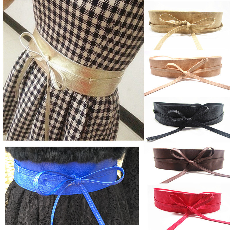 2019Simple Wide Waistband Garment Accessorie Bow Tie Skirt Elastic Belt Women Elastic Belt  Corset Belt For Womencorset Belt