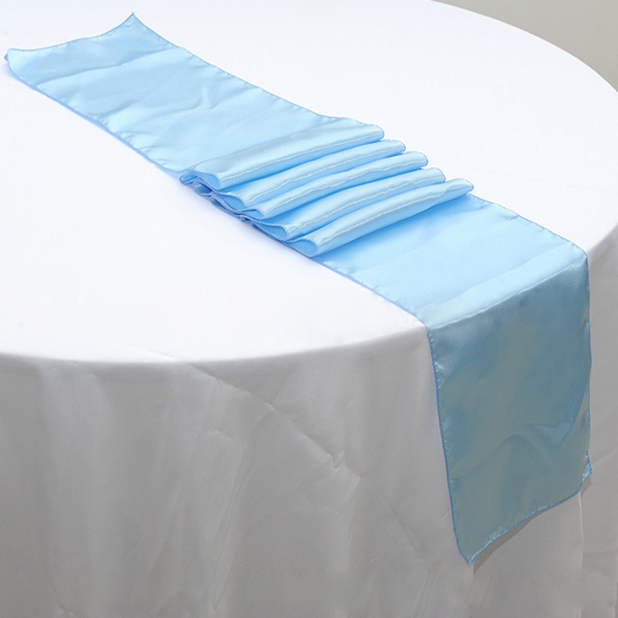 Delightful Free Shipping 50pcs 30 X 275cm Light Blue Cheap Satin Table Runners For  Banquet Wedding Table