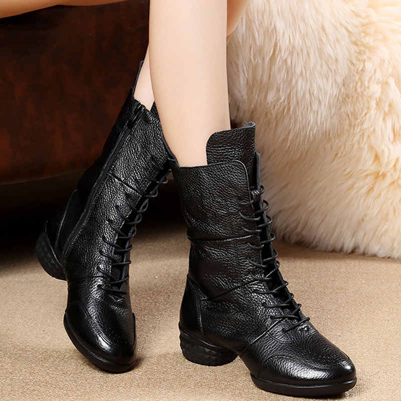 1ae0facd970 New Arrival Dance Boots Women Modern Jazz Dance Sneakers Genuine Leather  Winter Spring Autumn Heel 5cm Square Dance Shoes Ladies
