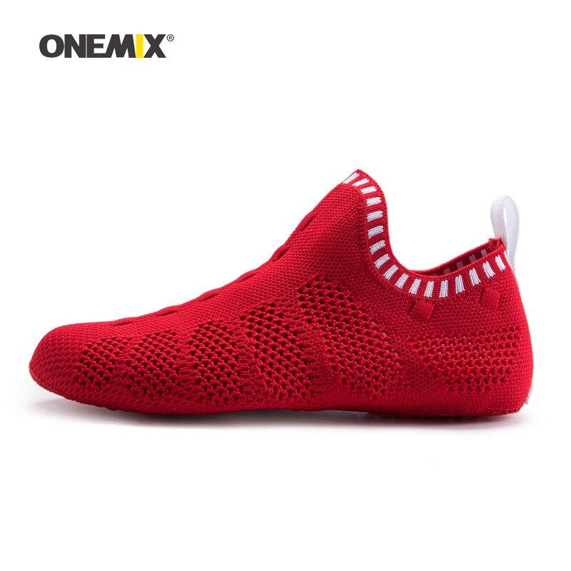 Onemix Woman Socks Walking Shoes Women Red Jogging Sneakers Indoor Sports Yoga Loafers Outdoor Beach Trekking