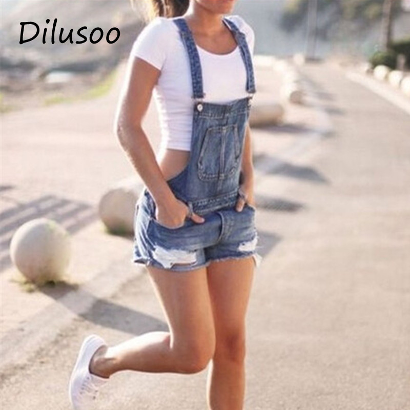 Dilusoo Women Cowboy Straps Shorts   Jeans   Ripped Streetwear Denim Straps Straight Shorts Woman Summer Casual Jumpsuit Short   Jeans