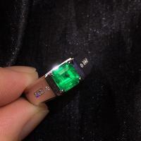 Изумрудное кольцо ювелирные изделия чистый 18 K Белый Золотой Мужские натуральные яркие Зеленые Изумрудные Кольца 1.37ct мужские тонкие Кольца