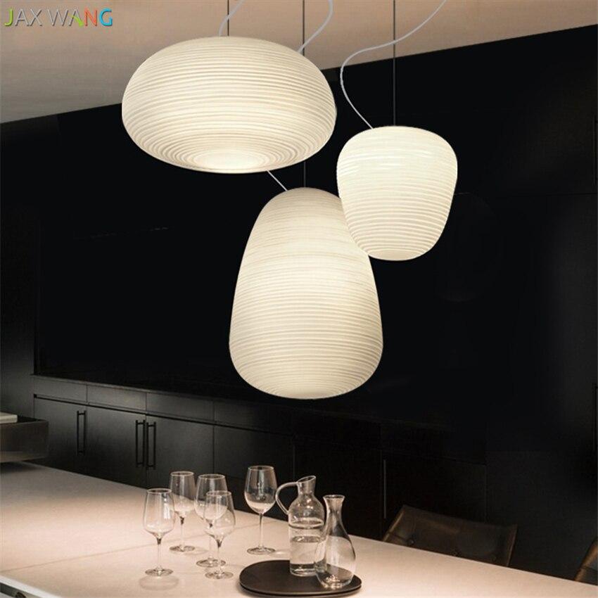 Nordique moderne lune pendentif lumières salle à manger bureau Restaurant éclairage chambre d'enfants fileté verre ombre lampes luminaire