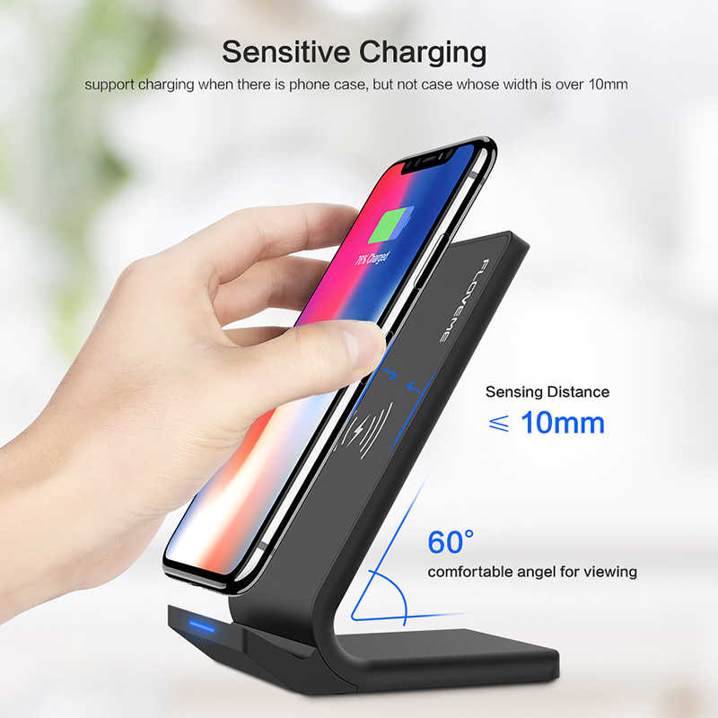 Floveme 5 V/2A Wireless Charger untuk Samsung Galaxy S8 S7 S10 Note 8 9 Qi Wireless Charging Dock untuk iPhone X 8 X Max USB Charger