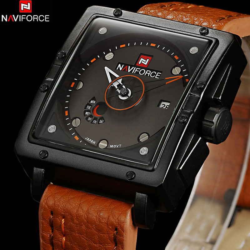NAVIFORCE Mens Quartz Watches Top Brand Luxury Aviator Military Watches Army Leather Waterproof Luminous relogio masculino