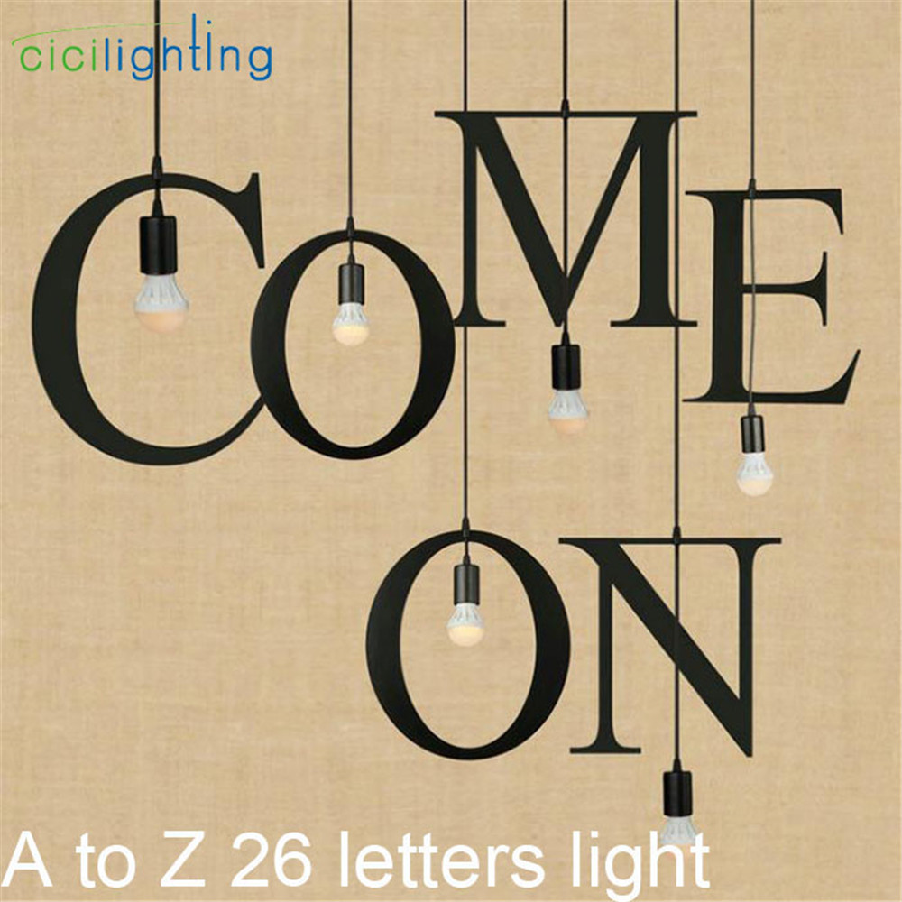 DIY A to Z 26 Letters Pendant Light Black Hanging Customized Lamp Industrial Bar Store home lustres lamparas hanglamp lampe