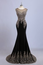 Beautiful Black Mermaid Evening dresses Luxury Gold Lace Long Prom Dress 2015 Free Shipping Vestidos de noche largos blanco