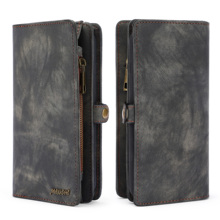 Luxury Leather Business Wallet Multifunctional Zipper Case Detachable Magnetic Back Cover For HUAWEI P20 PRO