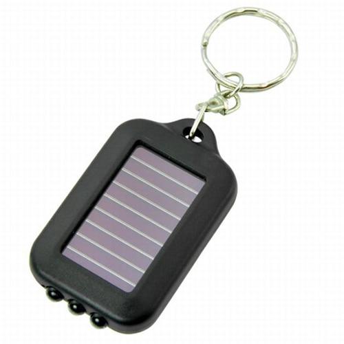 New Small Black Solar-powered LED Flashlight W/ Keychain Handy Neat Bright
