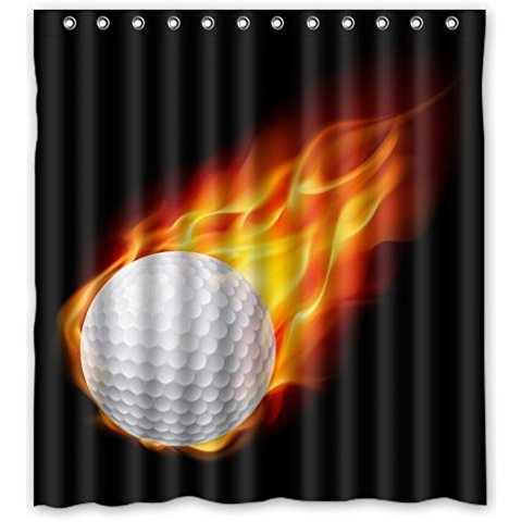 Cool Love Golf Shower Curtain 66Wx72H Inch With 12 Holes To Which Rings Attach