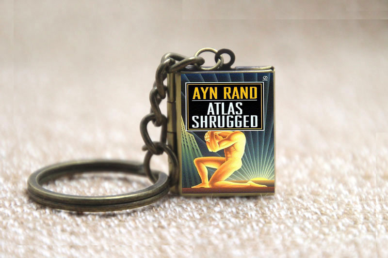 Us 3 39 15 Off Atlas Shrugged Book Locket Necklace Keyring Silver Bronze Tone B2351 In Chain Necklaces From Jewelry Accessories On