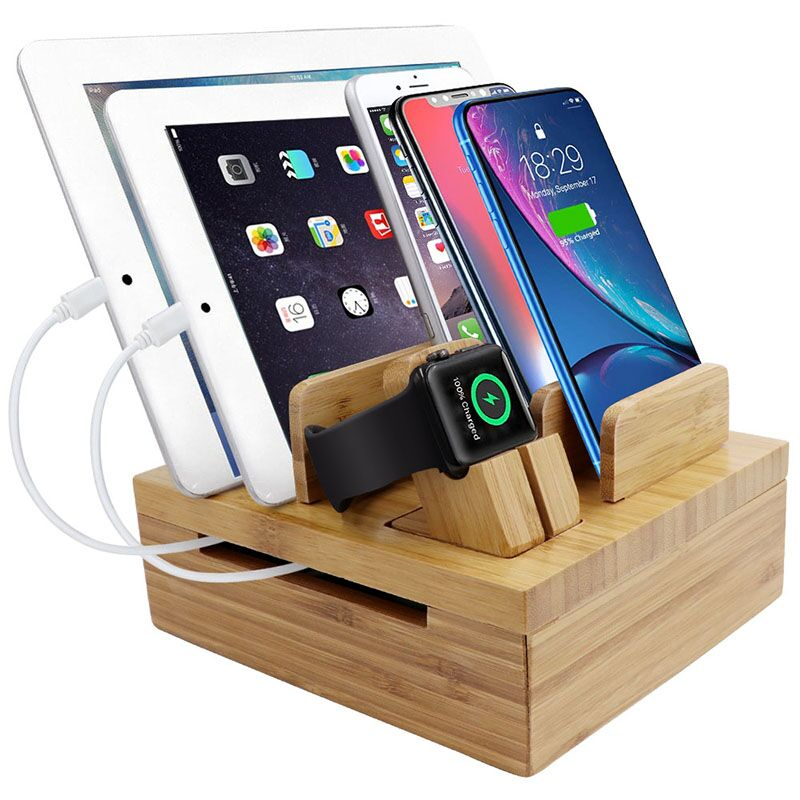 Acoki Bamboo 5-slot Removable Tablet Phone Stand Holder Desktop Cord Organizer Stand Multi-Devices Docking StationAcoki Bamboo 5-slot Removable Tablet Phone Stand Holder Desktop Cord Organizer Stand Multi-Devices Docking Station