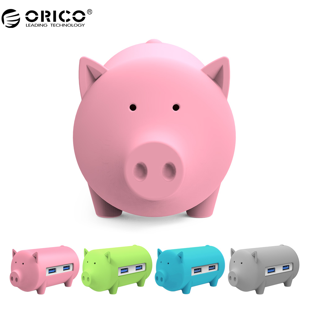 ORICO H4018 USB3.0 Hub Litte Pig Hub USB3.0 3 Ports with TF SD Card Reader for MacBook Air Laptop PC