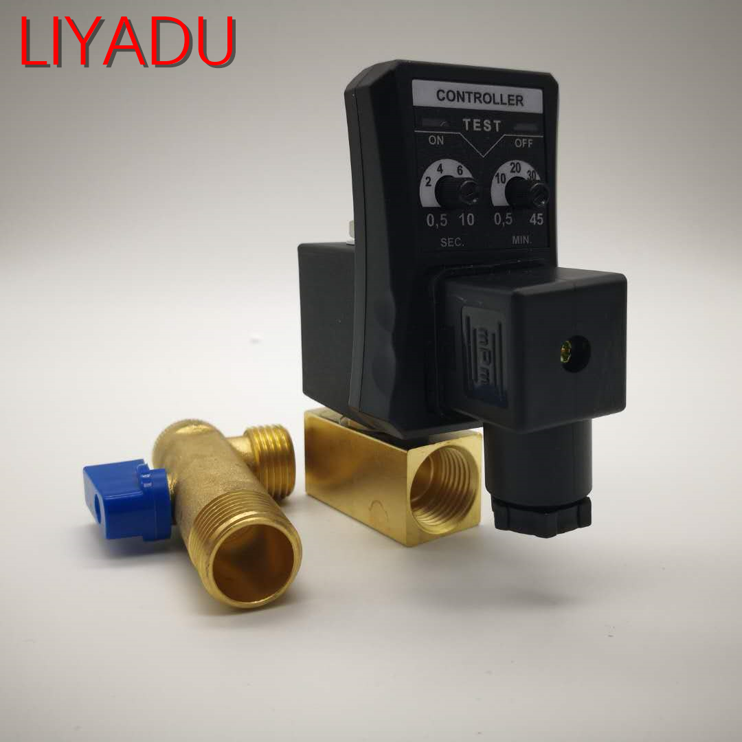 1/2 Electronic Drain Valve Air Compressor Filter Dry Air Storage Tank Drain Cooler Dry Electromechanical Magnetic Valve 220v