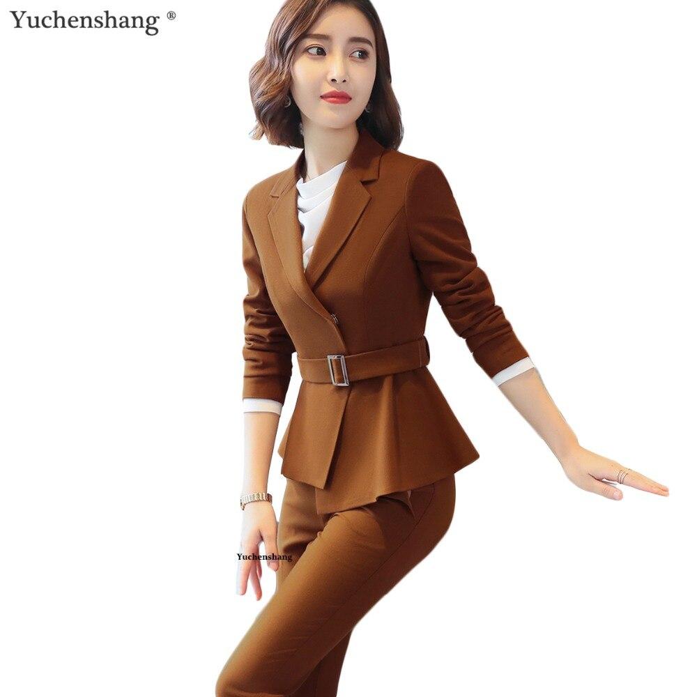 2 Piece Set High quality Women Formal Pant Suit Office Lady Uniform Designs Female Camel Business