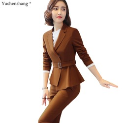 2 Piece Set High-quality Women Formal Pant Suit Office Lady Uniform Designs Female Camel Business Jacket and Pant Work Wear