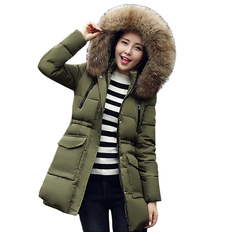 2017 fashion women winter coat cotton padded thick real fur collar hooded jacket warm overcoat parka