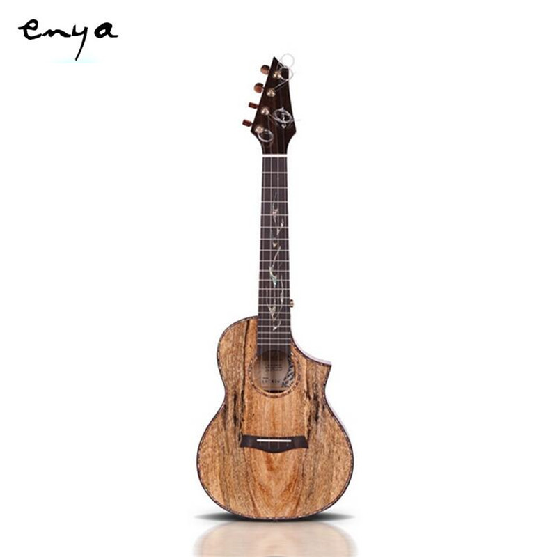 Enya EUC/T-MG6 23/26 Inch Electric Acoustic Guitar Guitarra Head Ebony Inlay Shell Tiger-stripe Solid Mangowood Ukulele+Box 12mm waterproof soprano concert ukulele bag case backpack 23 24 26 inch ukelele beige mini guitar accessories gig pu leather