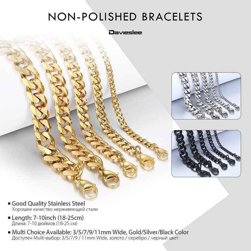 380a4be410da6 Davieslee Mens Bracelet Chain Polished Stainless Steel Silver Black Gold  Chains Bracelet for Men Cuban Link 3/5/7/9/11mm KBM218