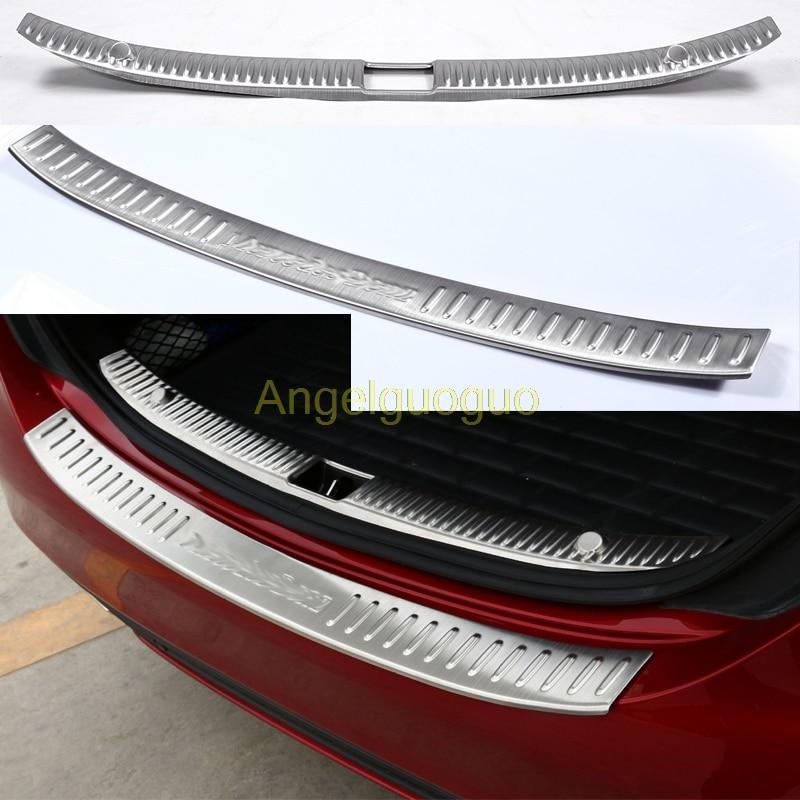Angelguoguo Car Accessories Rear Bumper Protector Trunk Guard Sill Plate Scuff Trim for 2015 2016 Mercedes
