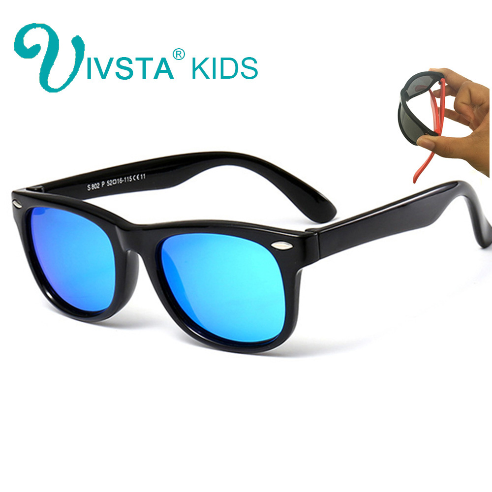 IVSTA Polarized Children Sunglasses Girls TR90 Glasses Mirror Blue Coating Rubber Boys Sunglasses Kids Silicone Unbreakable 802