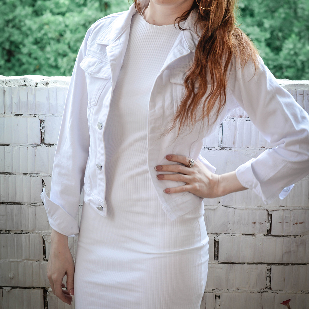 Spring Autumn Women Clothing Cowboy Coat Loose Long Sleeve Short Female Denim Jacket White Black Blue Innrech Market.com