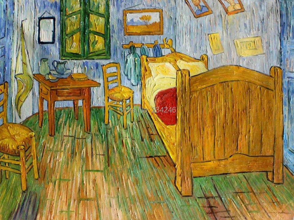 Handmade Canvas Oil Painting Vincent\'s Bedroom at Arles Room Scenes ...