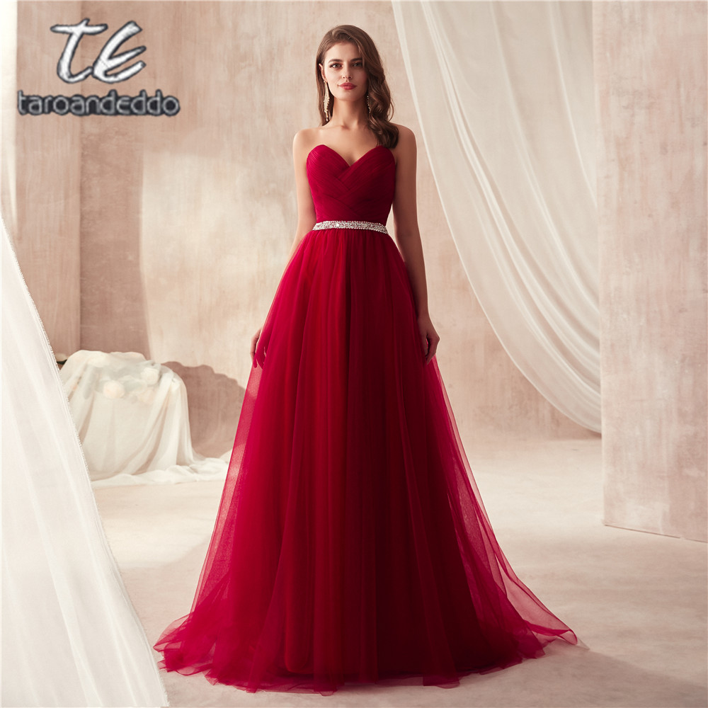 Elegant Burgundy Tulle Prom Dress Women for Wedding Party Sweetheart Ruched Bodice Beading Sash Long Dresses