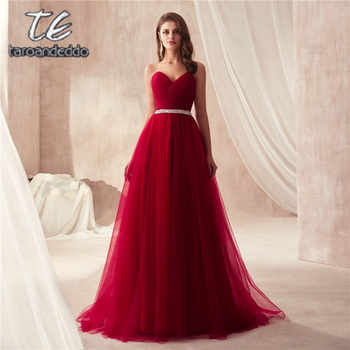 Elegant Burgundy Tulle Prom Dress Women for Wedding Party Sweetheart Ruched Bodice Beading Sash Long Dresses Evening Dresses - DISCOUNT ITEM  0% OFF All Category
