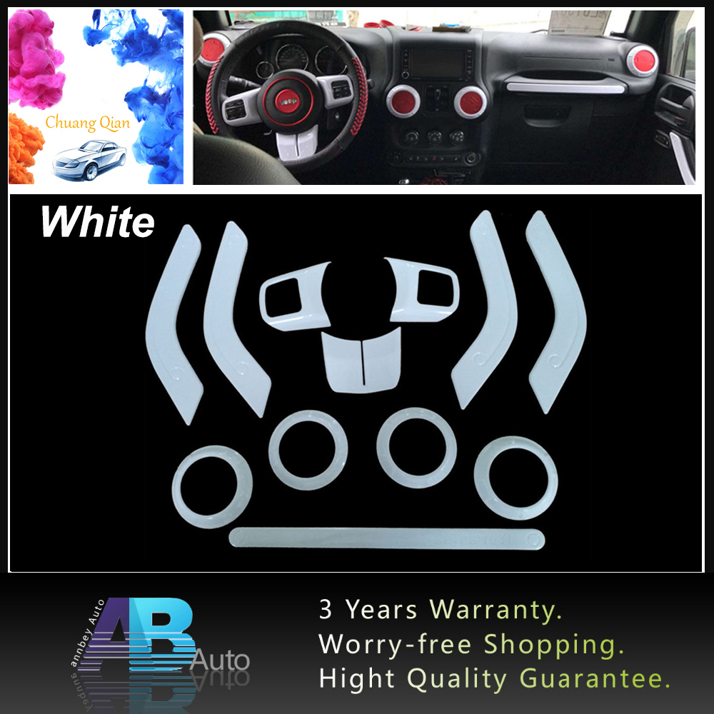 12pcs White Decoration Trim Ket Dashboard Inner Cover Door Handle Air Conditioning Vent For Jeep Wrangler 2011-2017 Car Styling dashboard cover
