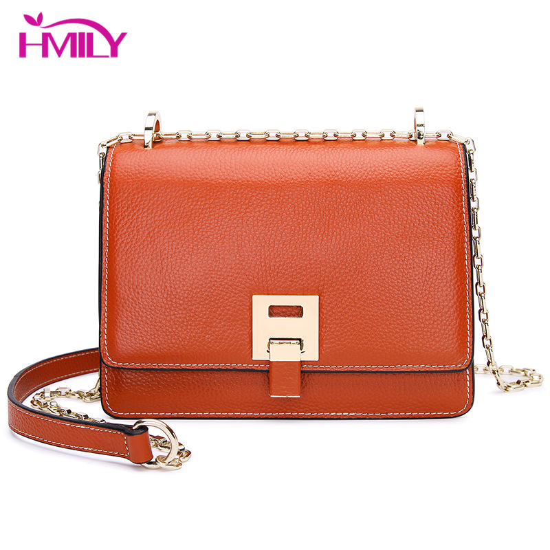 HMILY Women Mini Bag Genuine Leather Female Shoulder Messenger Bag Natural Cowhide Cover Chain Daily Shopping Bag New Handbags-in Shoulder Bags from Luggage & Bags    1