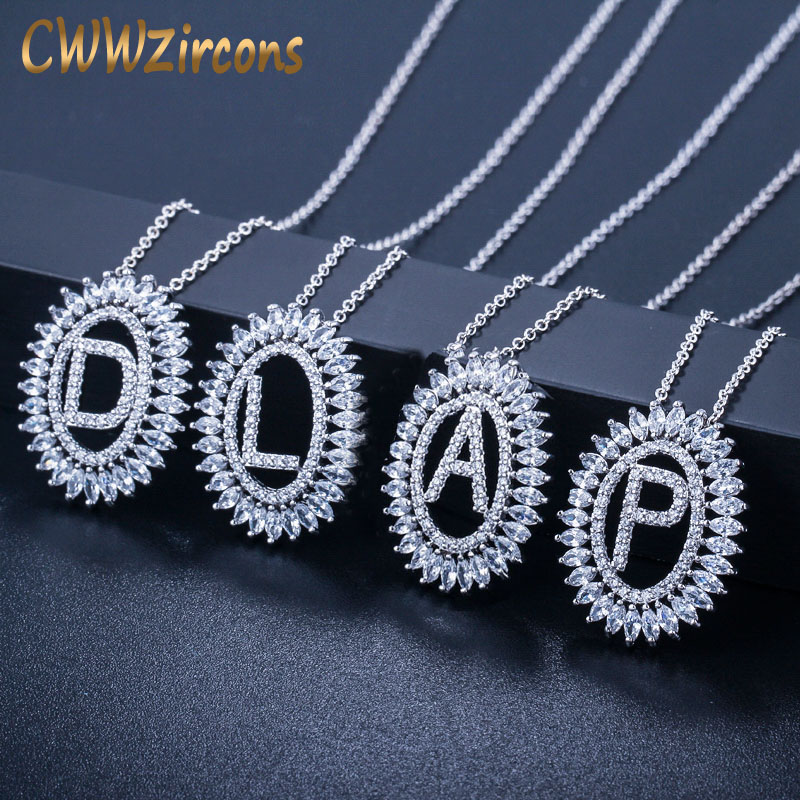 CWWZircons Trendy Cubic Zirconia Stone Pave Silver Color Round Drop Initial Letter Pendant