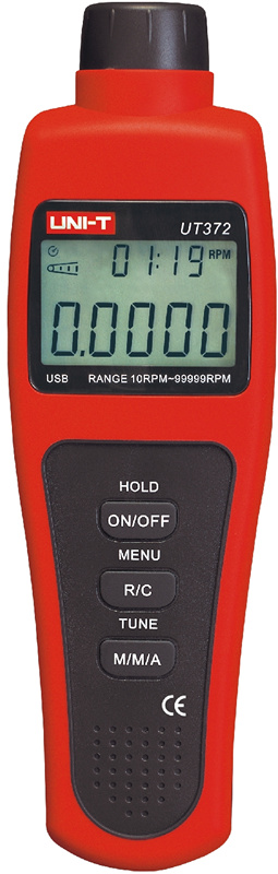 UT372 tachometer digital display non-touch tachometer photoelectric speed tachymeter digital display motor speed watch strap speeding alarm electronic tachometer sensor measurement speed