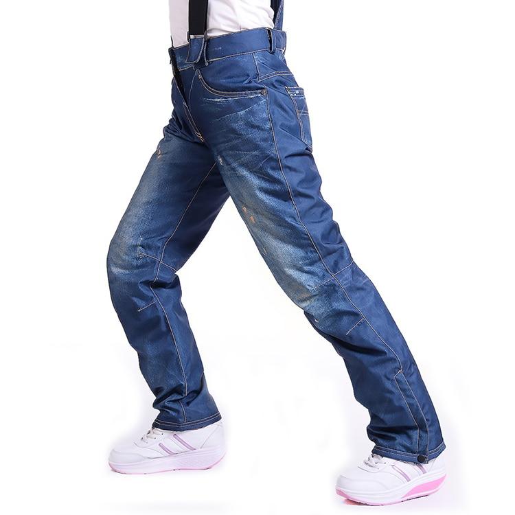 Jean Snowboard Pants Suspenders Denim Ski Pants Skate Snow Board Waterproof Thermal Pants Adult Pantalones for women and men new 2017 pencil denim pants women high waist skinny stretch jean female autumn jeans feet pantalones mujer f414