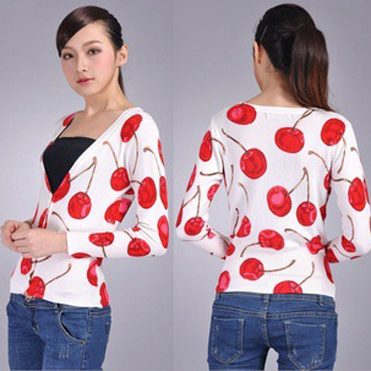 V-Neck Sweater Women Cardigan Knit 2016 Fashion Pull Femme Cherry Printed coat Sweaters